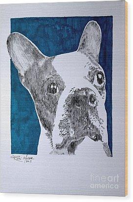 Boston In Blue Wood Print by Robbi  Musser
