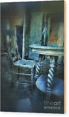 Bottle On Table In Abandoned House Wood Print by Jill Battaglia