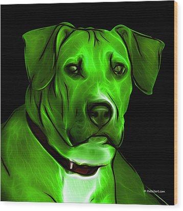 Boxer Pitbull Mix Pop Art - Green Wood Print by James Ahn