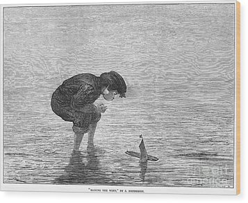 Boy And Toy Boat Wood Print by Granger
