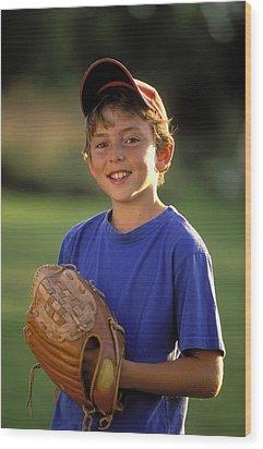 Boy With Baseball Glove Wood Print by John Sylvester