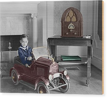 Boy With Toy Car Wood Print by Andrew Fare