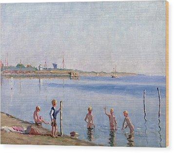 Boys At Water's Edge Wood Print by Johan Rohde