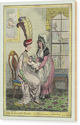 Breastfeeding, 18th-century Caricature Wood Print by Miriam And Ira D. Wallach Division Of Art, Prints And Photographsnew York Public Library