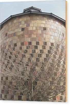 Brick Grain Bin Wood Print by Todd Sherlock