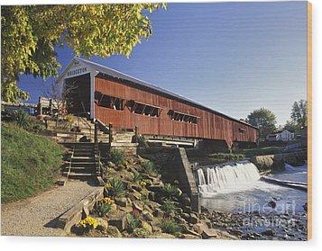 Bridgeton Covered Bridge - Fm000064 Wood Print by Daniel Dempster