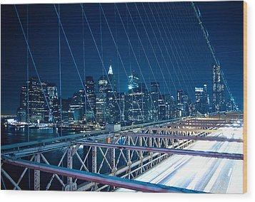 Brooklyn Bridge And Lower Manhattan By Night Wood Print by Miemo Penttinen - miemo.net