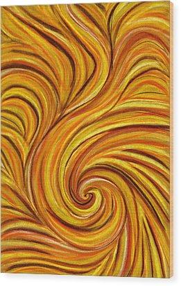 Brown Swirl Wood Print by Hakon Soreide