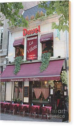 Brussels - Restaurant La Villette With Trees Wood Print by Carol Groenen