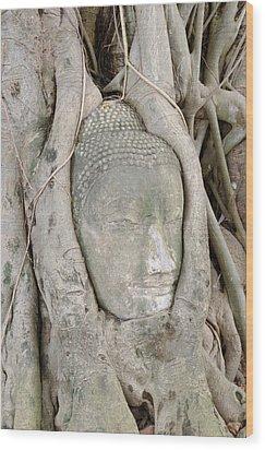 Buddha Head In A Tree Wood Print by Kanoksak Detboon