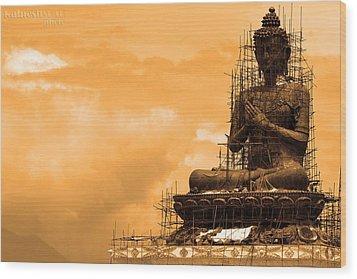 Buddha Wood Print by Kalpesh Shah