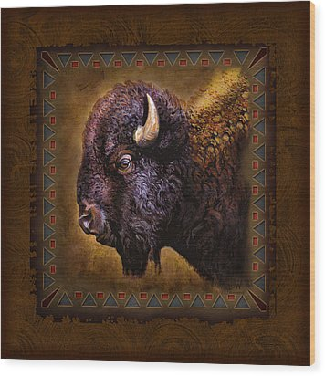 Buffalo Lodge Wood Print by JQ Licensing