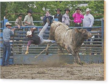 Bull 1 - Rider 0 Wood Print by Sean Griffin