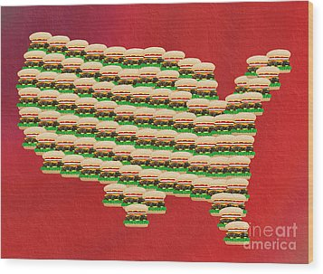 Burger Town Usa Map Red Wood Print by Andee Design