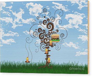 Burger Tree House And The Cupcake Kids  Wood Print by Andee Design