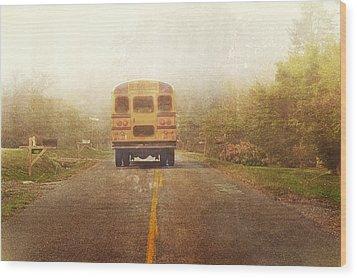Bus Stop Wood Print by Kathy Jennings