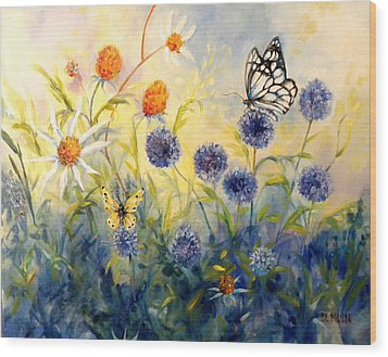 Butterfly Garden Wood Print by Peggy Wilson
