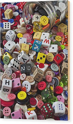 Buttons And Dice Wood Print by Garry Gay