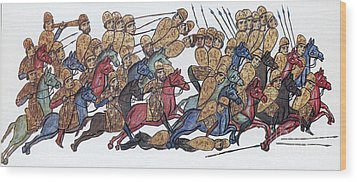 Byzantine Cavalrymen Rout Bulgarians Wood Print by Photo Researchers