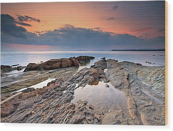 Cabasson Beach At Sunset Wood Print by Eric Rousset