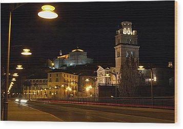 Calahorra Cathedral At Night Wood Print by RicardMN Photography