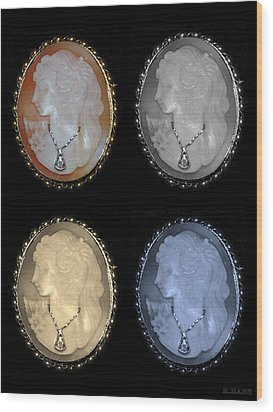 Cameo In Quad Colors Wood Print by Rob Hans