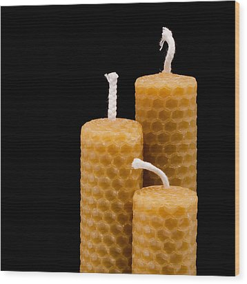 Candles Wood Print by Tom Gowanlock