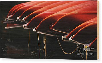 Canoes Of Red Wood Print by Bob Christopher