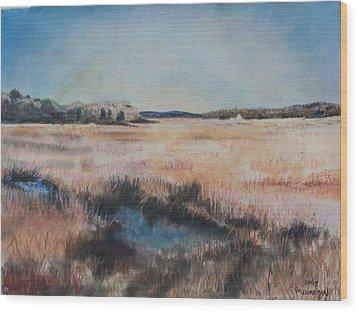 Cape Cod Marsh Wood Print by Geoffrey Workman