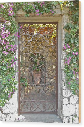 Capri-timeless Gate Wood Print by Italian Art