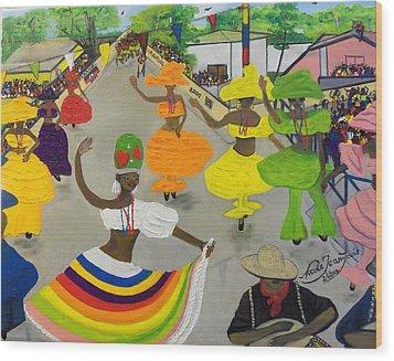 Carnival In Port-au-prince Haiti Wood Print by Nicole Jean-Louis