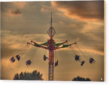 Carnival Ride Wood Print by Nicholas  Grunas