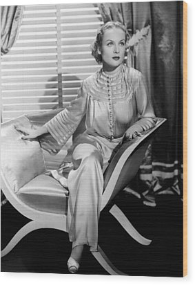 Carole Lombard, Sitting, In A 1930s Wood Print by Everett