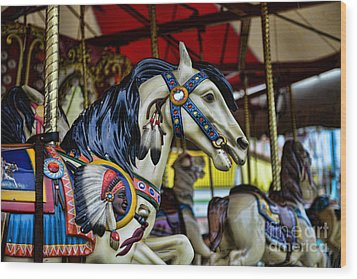 Carousel Horse 6 Wood Print by Paul Ward