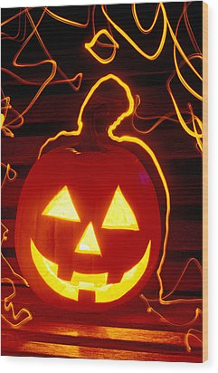 Carved Pumpkin Smiling Wood Print by Garry Gay