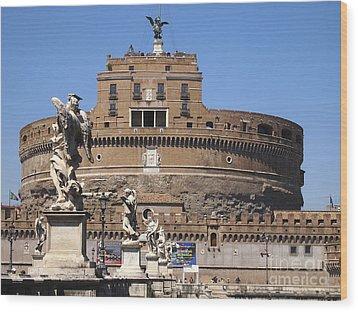 Castel Saint Angelo On The River Tiber. Rome Wood Print by Bernard Jaubert