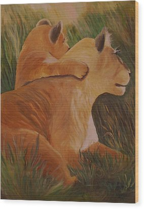Cat Family Wood Print by Christy Saunders Church