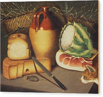Cat Mouse Bacon And Cheese Wood Print by Anonymous