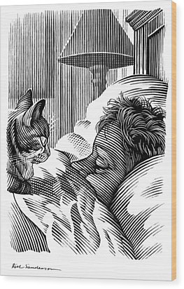 Cat Watching Sleeping Man, Artwork Wood Print by Bill Sanderson