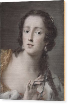 Caterina Sagredo Barbarigo As 'bernice' Wood Print by Rosalba Giovanna Carriera