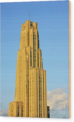 Cathedral Of Learning In Evening Light Wood Print by Thomas R Fletcher