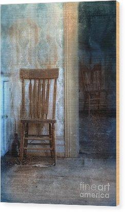 Chairs In Rundown House Wood Print by Jill Battaglia