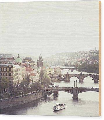 Charles Bridge Crossing Vltava River Wood Print by Image - Natasha Maiolo