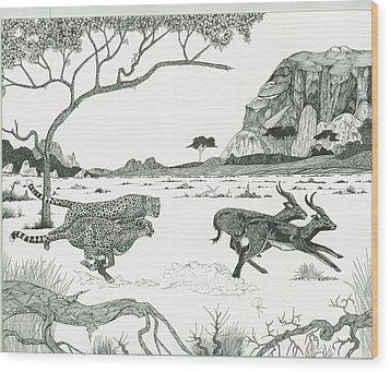 Cheetah Twins  Wood Print by Doug Hiser