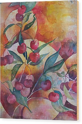 Cherries In The Sun Wood Print by Sandy Collier
