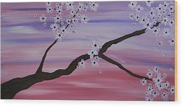 Cherry Blossoms At Sunrise Wood Print by Heather  Hubb