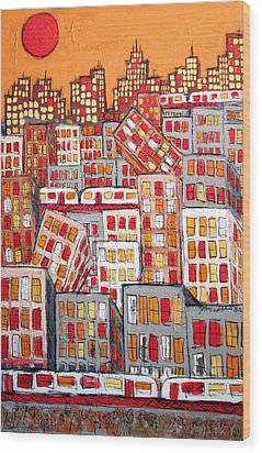 Chicago And The Pepperoni Sun Wood Print by Karl Haglund