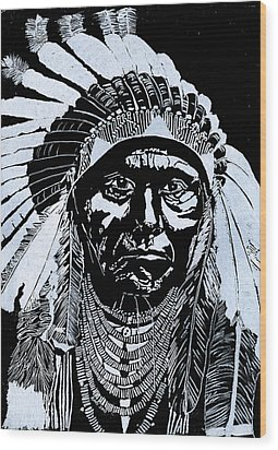 Chief Joseph Wood Print by Jim Ross
