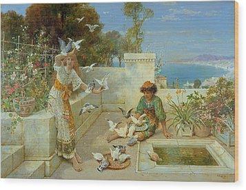 Children By The Mediterranean  Wood Print by William Stephen Coleman