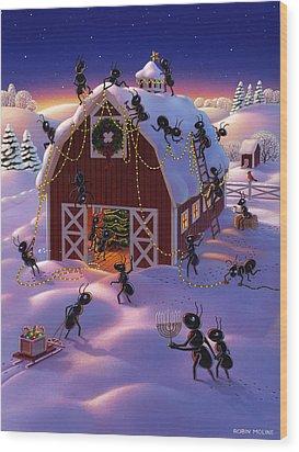 Christmas Decorator Ants Wood Print by Robin Moline